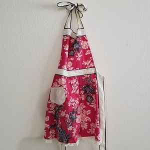 Anthropologie Kitchen Apron Floral Ruffle Red